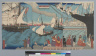 [Waterfront scene with ships and passengers]