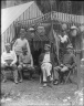 Group portrait of five men in front of tent, Bohemian Grove. [negative]