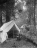 Man seated in folding chair outside tent, Bohemian Grove. [negative]