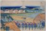 Fuji from the licensed quarter at Senju, from Thirty-six Views of Mt. Fuji