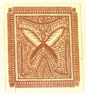 Textile fragment illustrating the steps of the batik process. Indonesia