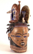 Igbo (Nigeria) leather covered wooden mask