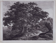 Landscape with Two Huntsmen or Eichengruppe in Buschlandschaft (Group of Oak Trees in a Thicket)