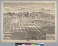 Bird's-eye view of Azusa, Los Angeles Co[unty], Cal[ifornia] 1887