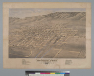 Bird's-eye view of Carson City, Ormsby County, Nevada, 1875, looking southwest