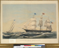 """Clipper ship """"Adelaide"""": off Sandy Hook, """"Hove to for a pilot"""""""