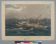 "Clipper ship ""Comet"" of New York: in a hurricane off Bermuda on her voyage from New York to San Francisco [California], Oct[obe]r 1852"