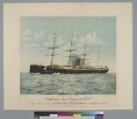 """Departure of the California First Regiment U.S.V. on the steamship """"City of Peking"""" for the Philippine Islands"""