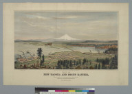 View of New Tacoma and Mount Rainier, Puget Sound, Washington Territory: terminus of Northern Pacific Railroad
