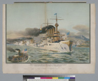 "Rear Admiral Evans' Flagship ""The Connecticut"" heading the fleet through the Golden Gate"
