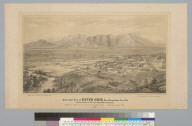 Bird's-eye view of Riverside, San Bernardino Co[unty], Cal[ifornia] looking north to the San Bernardino Mountains