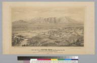 Bird's-eye view of Riverside, San Bernardino Co[unty], Cal[ifornia] looking north to the San Bernardino Mountains