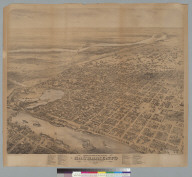 Bird's-eye view of the city of Sacramento, state capitol of California, 1870