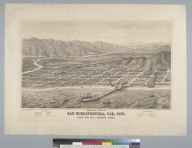Bird's-eye view of San Buenaventura, California, 1877, from the bay looking north