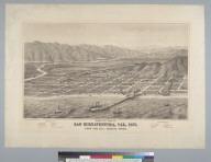 Bird's-eye view of San Buenaventura, California, 1877, from the bay looking north