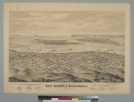 Bird's-eye view of San Diego, California, 1876, from the northeast, looking southwest