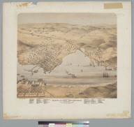 Bird's-eye view of the city of Vallejo and US Navy Yard, Mare Island, Solano County, California, 1871