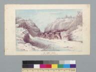 The snow plough [sic] at work near Blue Canyon, G.P. Railroad