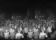 Members at meeting or play, Bohemian Grove. [negative]
