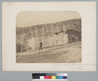 """""""Kennels of the Valparaiso Hunt Club in 1861,"""" with a man in hunting costume. [photographic print]"""