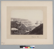 """""""Valparaiso, Chile, 1864,"""" view from hill showing ship in dry dock in harbor. [photographic print]"""