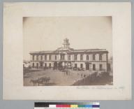 """La Bolsa de Valparaiso in 1867"" with horse carts in front. [photographic print]"