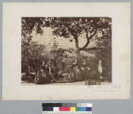 """""""Casa Blanca, Chile,"""" group of 3 women and 3 men under trees. [photographic print]"""
