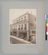 """""""Hotel Colon, Valparaiso, Chile, 1867,"""" with people on the 2nd and 3rd floor balconies. [photographic print]"""