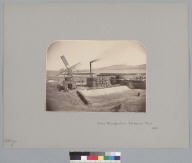 """""""Nitrate Manufacture, Tarapaca, Peru, 1863,"""" with laborers and windmill. [photographic print]"""