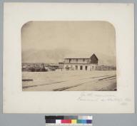 """""""On the new road, Ferrocaril [railroad] de Santiago, Chile, 1861.""""[photographic print]"""