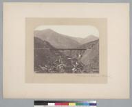 """Santiago and Valparaiso Railroad,"" trestle over ravine Viaducto Los Maquis. [photographic print]"