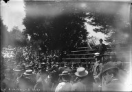 """Axe rally, 1900,"" view of bleachers, University of California at Berkeley. [negative]"