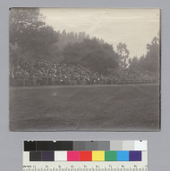 """C.U. bleacher rally? 1899,"" University of California at Berkeley. [photographic print]"