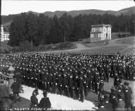 """C.U. cadets formed before North Hall,"" University of California at Berkeley. [negative]"