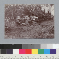 """The noon hour, view (e), 1898."" Oliver, Parker, and Hicks resting, University of California at Berkeley, Summer School of Surveying. [photographic print]"