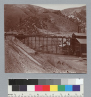 Panorama #3, view of coal car trestle, Tesla Coal Mines, California. [photographic print]