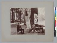 Man painting portrait, Bohemian Grove. [photographic print]