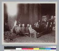 Men at campfire, Bohemian Grove. [photographic print]