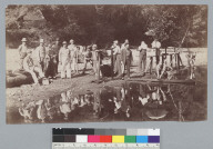 Men and their reflections in water hole, Bohemian Grove. [photographic print]