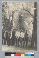 Group portrait of men in front of tipi, Bohemian Grove. [photographic print]