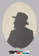 Bust length silhouette of man wearing hat and eyeglasses, Bohemian Grove. [photographic print]