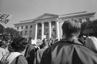 Rally in Sproul Plaza with Sproul Hall in background.