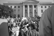 Free Speech rally in Sproul Plaza with Sproul Hall in background.