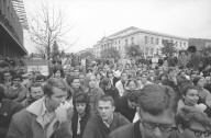 Crowd in upper Sproul Plaza.