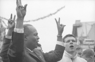 James Farmer giving the V sign at a CORE rally at Bancroft and Telegraph.