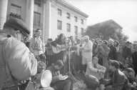 Joan Baez singing on the Sproul Steps.