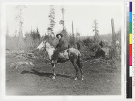 Karuk (?) man with horse, mounted.