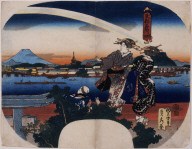 Geisha watching a rainbow arch across the Sumida River, from Famous Places in the Eastern Capital