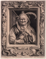 An Old Woman Wearing a Foolscap and Holding a Cat (The Elderly Fool and His Cat)