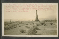 La Belle Oil Company, view across eight acres. Boiler plant and derrick for well number two on right. Well number one on left. Camp and storage tanks shown in center. Well on Section five in background, looking toward main coast range